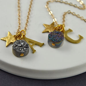 Personalised Druzy Star Charm Cluster Necklace - women's jewellery