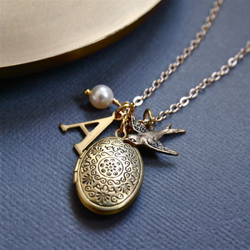 Personalised Locket Necklace With Bird Charm