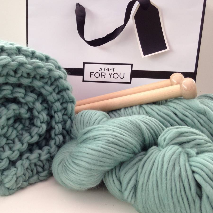 Knitting Kits For Throws : Chunky blanket knitting kit by wool couture