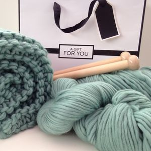 Chunky Blanket Knitting Kit - gifts for her