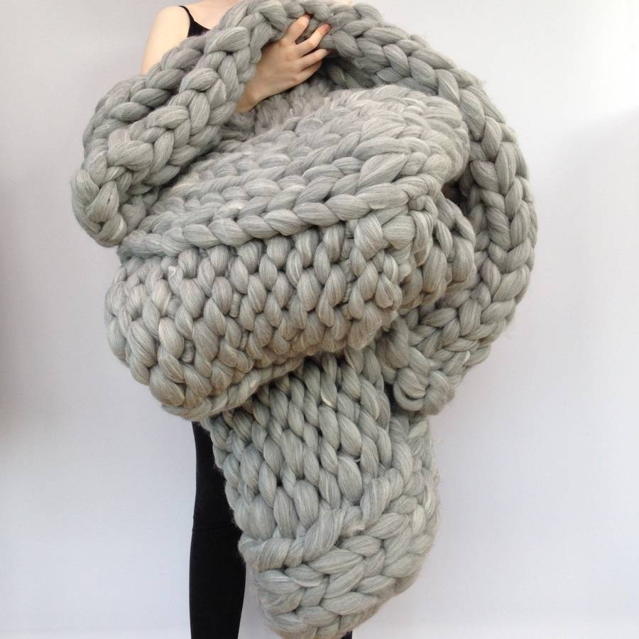 Hand Knitting Yarns : Giant hand knitted super chunky blanket by wool couture