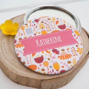 Personalised Bees And Flowers Pocket Mirror