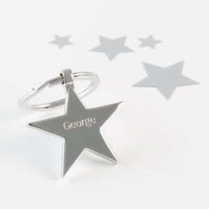 Personalised Engraved Star Keyring - keyrings