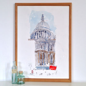 St Pauls Cathedral Red Bus Limited Edition Print - architecture & buildings
