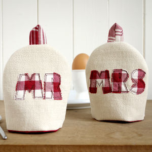 Personalised 'Mr And Mrs' Egg Cosies