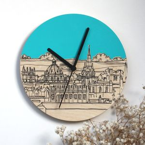 Oxford Rooftops Hand Coloured Clock