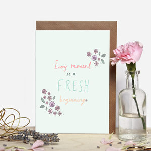 Fresh Beginning Floral Greeting Card - leaving cards