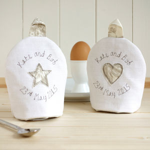 Pair Of Personalised Egg Cosies - 2nd anniversary: cotton