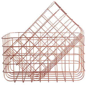 Set Of Two Copper Wire Storage Baskets