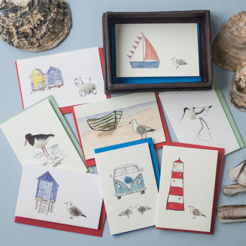 Eight Handmade Seaside Gift Cards, Beautifully Boxed