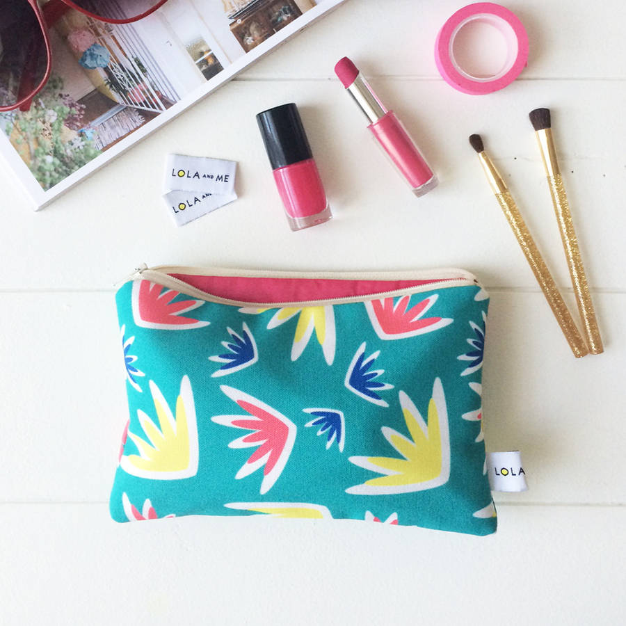 Lola and Me Lulu Floral Eco Canvas Make Up Bag