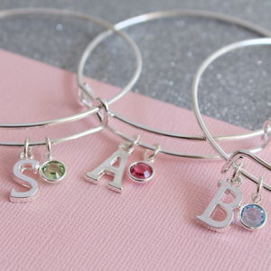Personalised Initial Birthstone Bangle - wedding thank you gifts