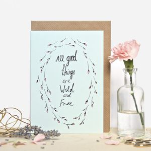 Wild And Free Nature Quote Greeting Card - leaving cards