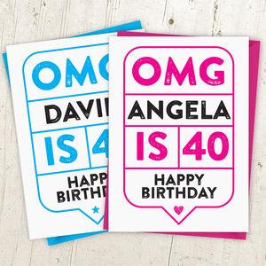 Omg 40th Birthday Card Personalised