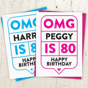 Omg 80th Birthday Card Personalised - birthday cards