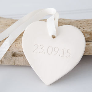 Engraved Ceramic Heart Hanging Decoration - wedding favours