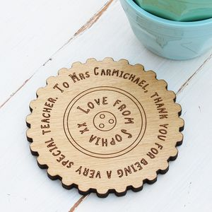 Personalised Teachers Gift Message Coaster - dining room