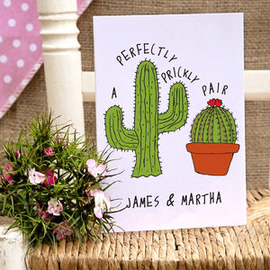 Personalised Cactus Pair Card - wedding cards & wrap