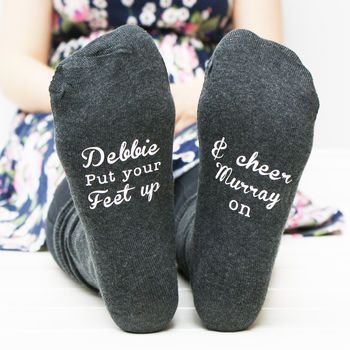 Personalised Women's Put Your Feet Up Wimbledon Socks