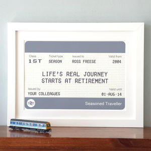 Personalised Train Ticket Retirement Print - posters & prints