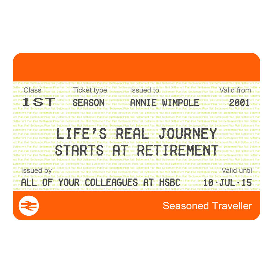 Personalised Train Ticket Retirement Print By Of Life