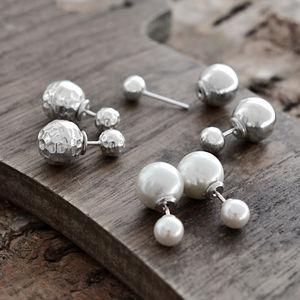 Silver Or White Venus Double Stud Earrings - earrings
