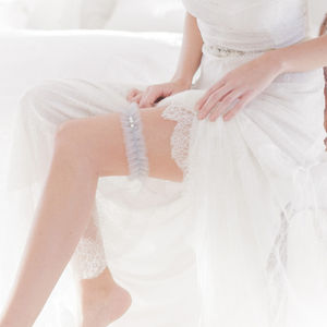 Something Blue Wedding Garter - the morning of the big day