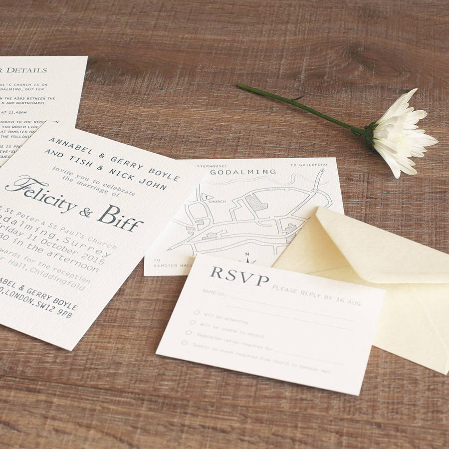 letterpress style wedding invitation by paperpair ...