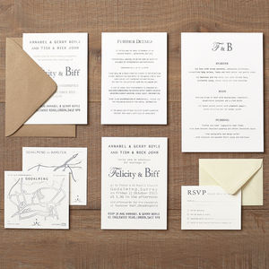Letterpress Style Wedding Invitation Invitations