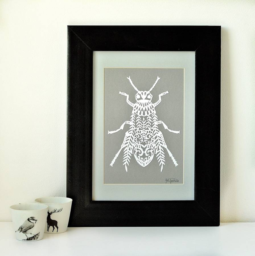 Handmade Papercut Bug Artwork