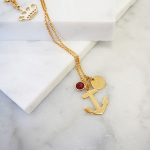 Sterling Silver Anchor Birthstone Charm Necklace
