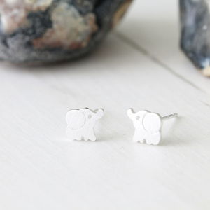 Silver Little Elephant Ear Studs Earrings