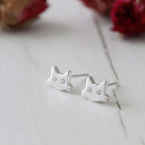 Sterling Silver Little Cat Ear Studs - earrings