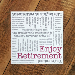 Retirement Card; 'Enjoy Retirement' - retirement cards