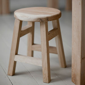 Small Raw Oak Stool
