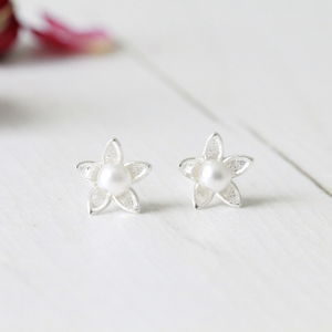 Silver Cherry Flower With Pearl Ear Studs - earrings