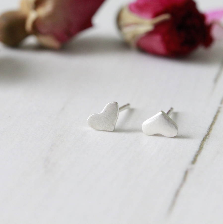 Silver Love Heart Ear Studs