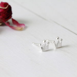 Silver Princess Crown Ear Studs