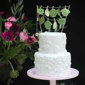 Crocheted Leaf Cake Topper - cake decoration