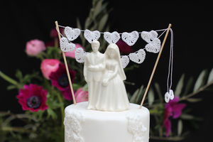 Crocheted Heart Wedding Cake Topper - cake toppers & decorations
