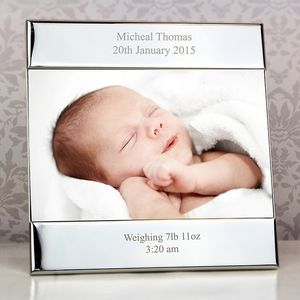 New Baby Personalised Silver Frame