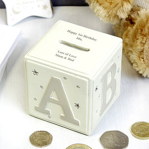Personalised Twinkle Twinkle Abc Money Box - christening gifts