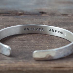 Personalised Silver Cuff Bracelet - wedding fashion