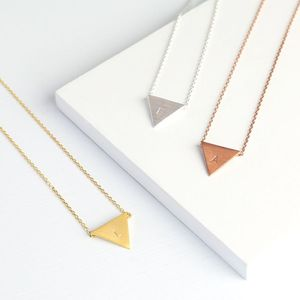 Triangle Necklace With Initial - stocking fillers