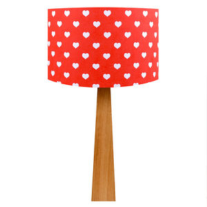 Handmade Red Hearts Oak Table Lamp - bedroom