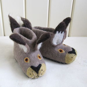 Children's Harry Hare Felt Slippers