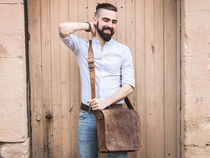 Leather Messenger Bag - laptop bags & cases