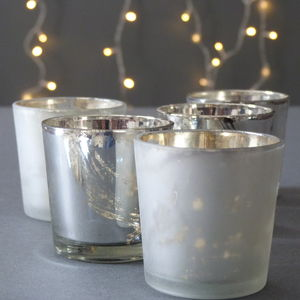 Set Of Five Silver And Frost Glass Tea Light Holders