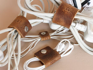 Leather Cable Organizers - stocking fillers under £15