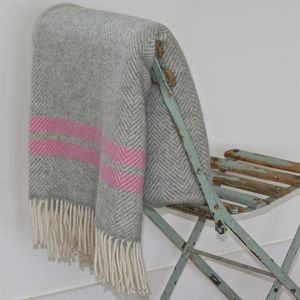 Pure New Wool Stripe Throw - bedroom